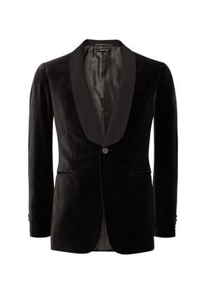 Dark-brown Slim-fit Grosgrain-trimmed Cotton-velvet Tuxedo Jacket