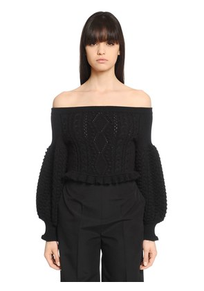 CROPPED OFF THE SHOULDERS WOOL SWEATER
