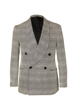 Slim-fit Double-breasted Prince Of Wales Checked Silk Tuxedo Jacket