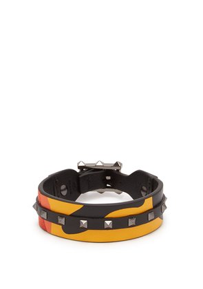 Rockstud camouflage leather and canvas bracelet