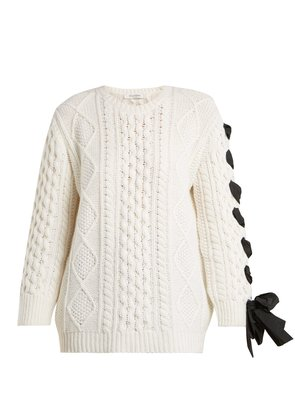 Laced cable-knit wool sweater
