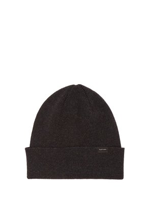 Ribbed-knit lambswool beanie hat