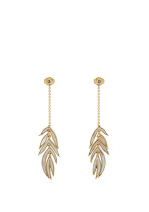 18kt gold and mother-of-pearl leaf earrings