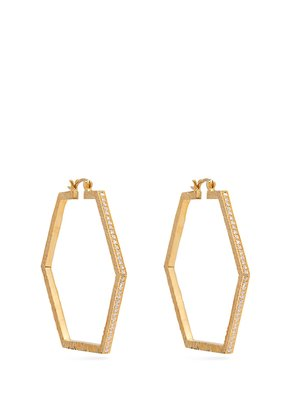 18kt gold and diamond hexagon earrings