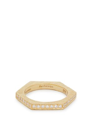 18kt gold and diamond-pavé hexagon ring