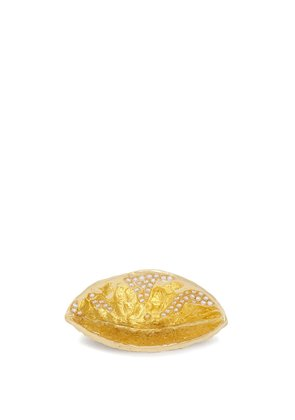 18kt gold and diamond coconut shell ring