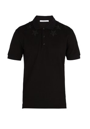 Star-embroidered cotton polo shirt