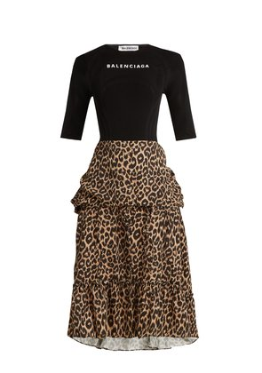 Stretch-jersey and leopard-print crepe dress