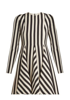 Striped wool and silk-blend dress