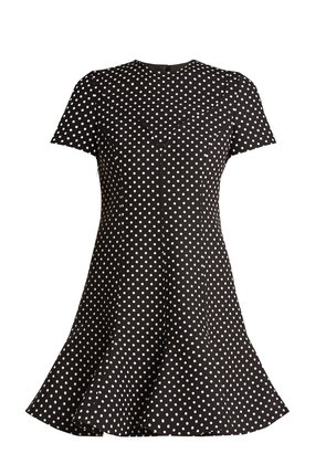 Polka-dot wool-blend dress