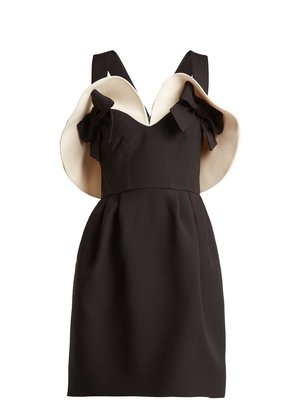 Bow-detailed wool and silk-blend dress