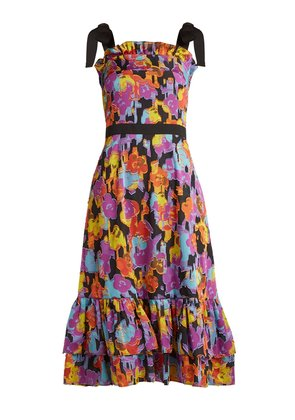 Kara floral fil-coupé dress