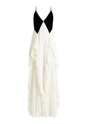 Velvet and crepe pleated gown
