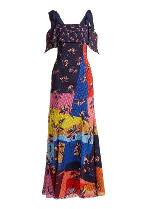 Canasta floral and polka-dot fil-coupé gown