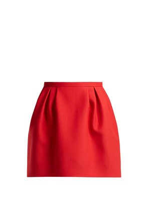 Pleated wool and silk-blend skirt