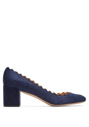 Lauren scallop-edged suede pumps