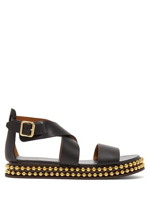 Beaded-flatform leather sandals