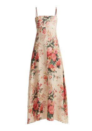 Laeila floral-printed linen dress