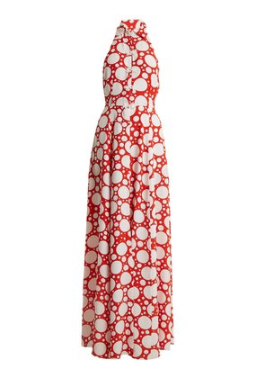 Fortuna polka-dot print crepe de Chine dress