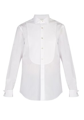 Double-cuff cotton poplin shirt