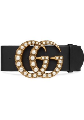 Gucci Wide leather belt with pearl Double G - Black