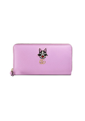 Gucci Leather zip around wallet with Bosco - Pink & Purple