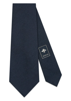 Gucci Panther face underknot silk wool tie - Blue