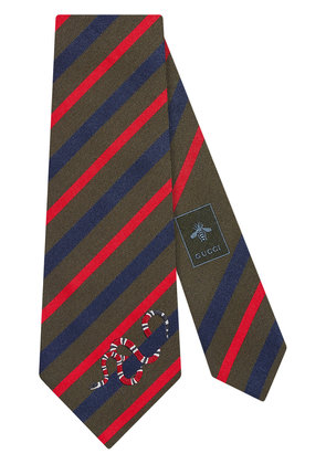 Gucci Striped silk tie with Kingsnake - Multicolour