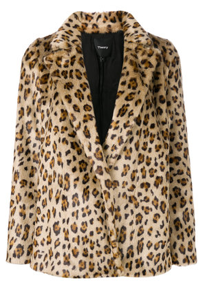 Theory leopard print a-line jacket - Brown