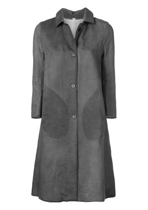 New Trendy A Diciannoveventitre Grey Buttoned Long Coat For Women Online Sale
