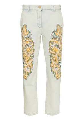 Gucci crystal embroidered denim jeans - White