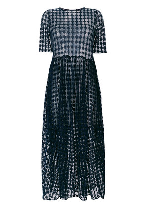 Jil Sander sheer layered ruched waist dress - Blue