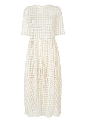 Jil Sander ruched waist short sleeved dress - Nude & Neutrals