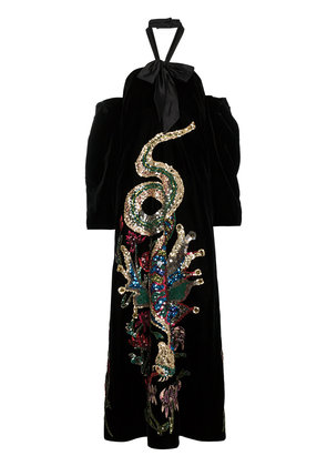 Gucci Sequin Embroidered Velvet Gown - Black