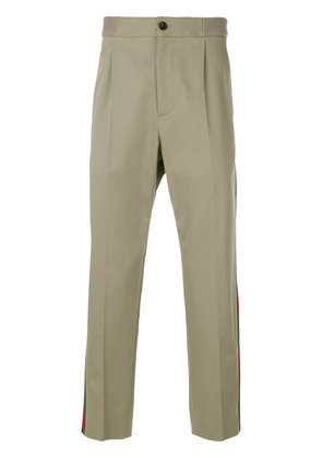 Gucci Web-trimmed cropped trousers - Nude & Neutrals