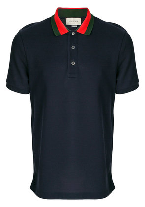Gucci embroidered appliqué polo shirt - Blue