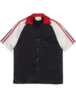 Gucci Acetate bowling shirt with Gucci stripe - Black