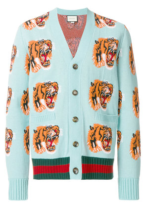Gucci tiger jacquard cardigan - Blue