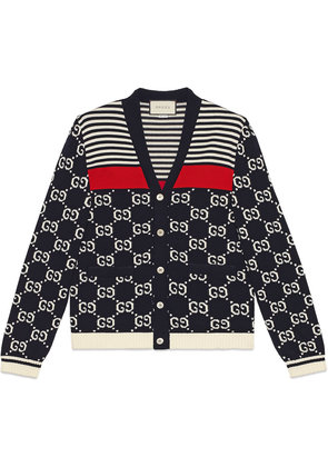 Gucci GG and stripes knit cardigan - Blue