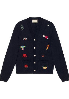 Gucci Embroidered wool knit cardigan - Blue