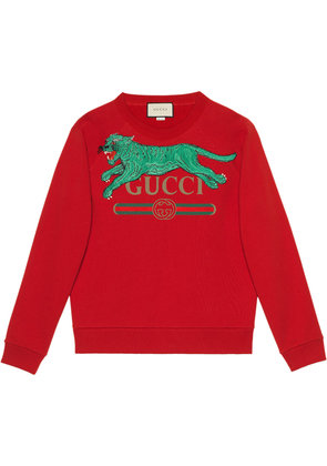 Gucci Gucci logo sweatshirt with tiger - Red