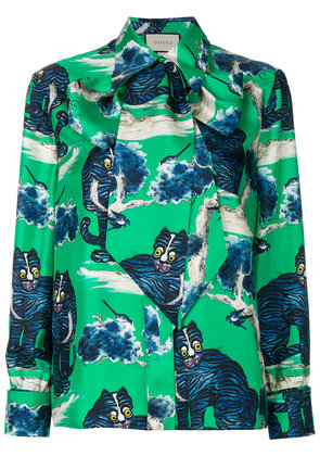 Gucci angry cat print blouse - Green