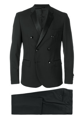 Tonello slim double breasted suit - Black