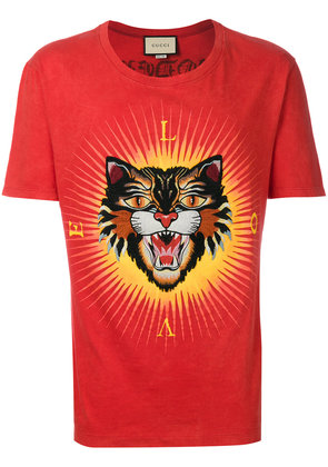 Gucci angry cat appliqué T-shirt - Red