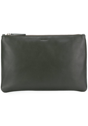 Jil Sander logo zipped clutch - Green