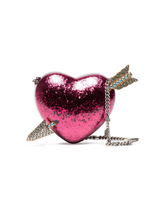 Gucci Pink Heart Crystal Embellished Clutch - Pink & Purple