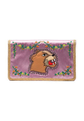 Gucci Multicoloured Broadway Lion Silk Clutch - Pink & Purple