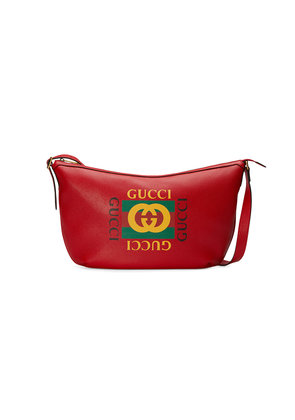 Gucci Gucci Print half-moon hobo bag - Red