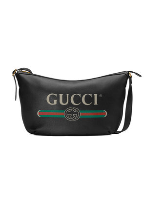 Gucci Gucci Print half-moon hobo bag - Black