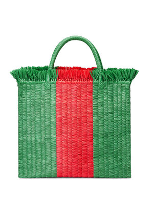 Gucci Web straw large top handle tote - Green